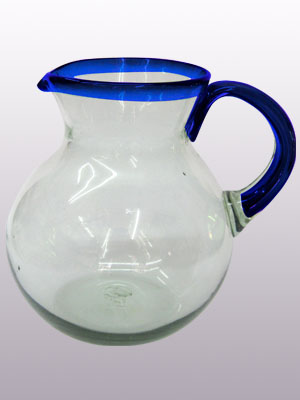 MEXICAN GLASSWARE / 'Cobalt Blue Rim' blown glass pitcher